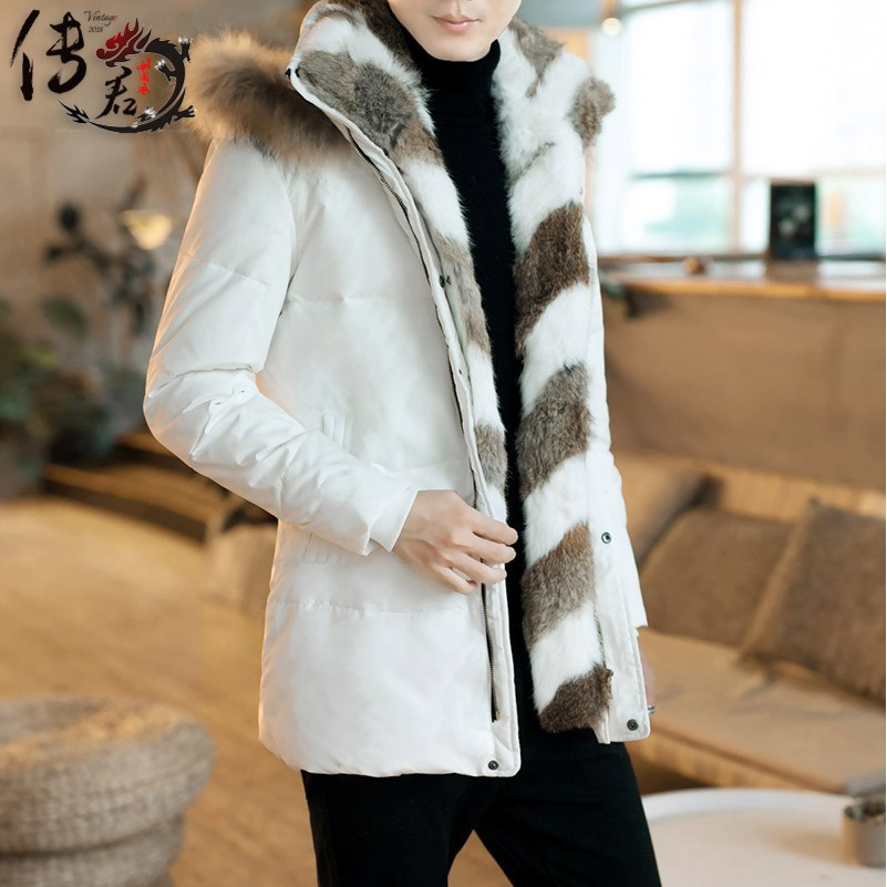 冬季加厚男装新款冬装大毛领中长款情侣男女羽绒服男士外套白鸭绒