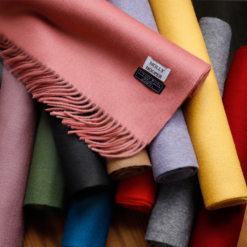 Pure color lamb wool scarf womens autumn and winter cashmere versatile long European and American warm mens dual-use couple Neckwear