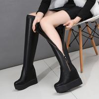 查看过膝长靴真皮坡跟高跟长筒靴瘦腿弹力靴厚底内增高高筒女靴子34码价格