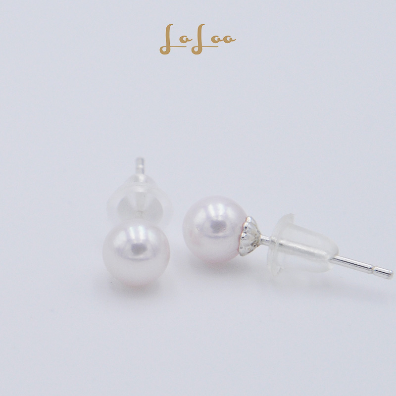Akoya round natural seawater pearl S925 Silver White Earrings simple Earrings daily temperament jewelry
