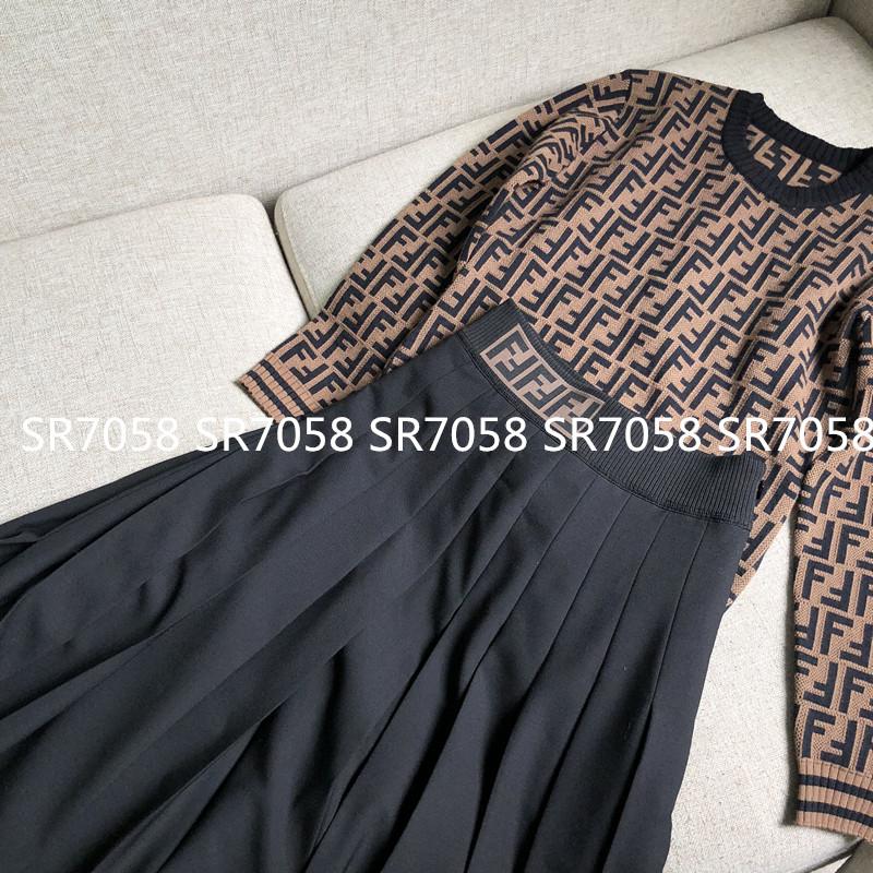 只有一批 F字母腰带百褶半身裙 长裙中高腰显瘦女