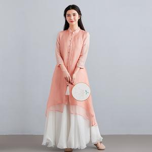 素飞汉服女改良新款中式女装复古唐装上衣中国风连衣裙仙气茶服夏