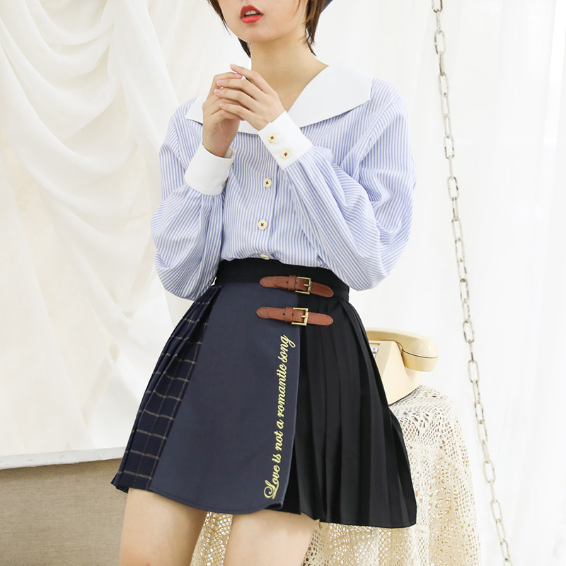 Original design of Shenlin Art Museum embroidered English stitched pleated age reduced checkered skirt JK Japanese style