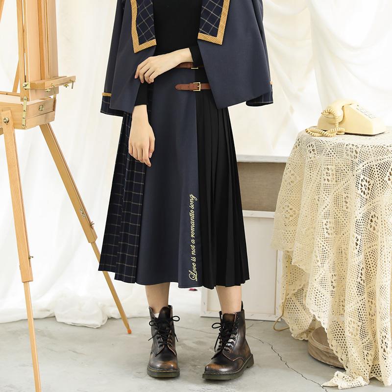 Shenlin Art Museum original design long skirt pleated Plaid stitching medium long JK skirt womens College style age reduction