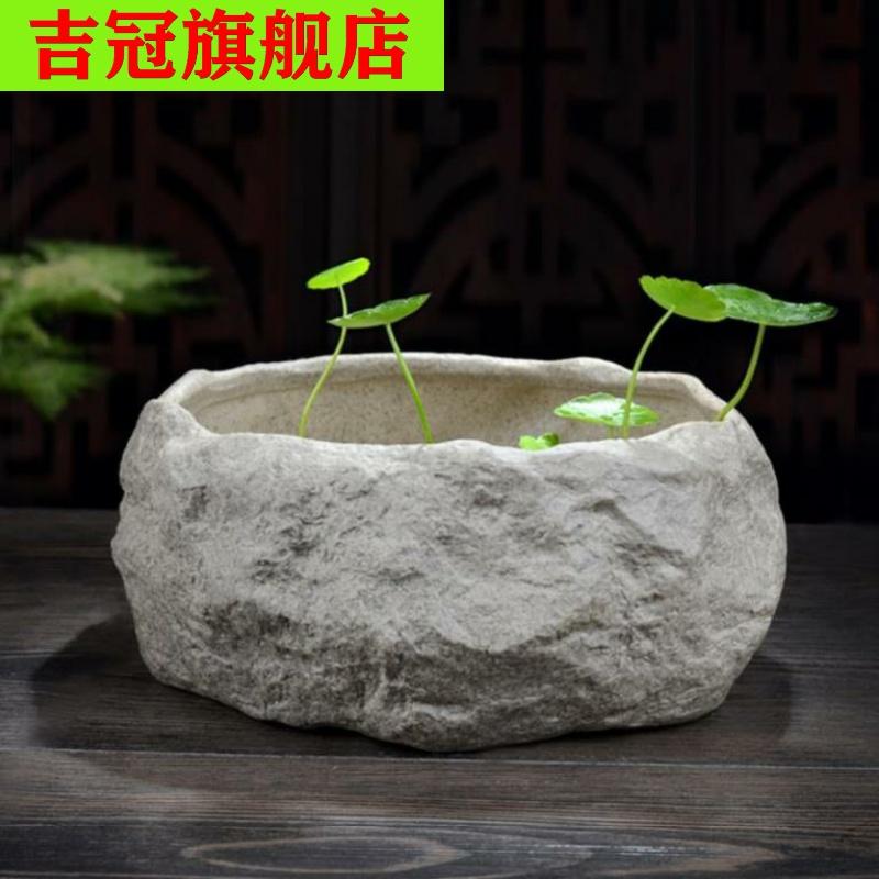 陶艺莲花盆栽睡水莲盆植物水培荷花水仙无底孔水鲜花水生容器