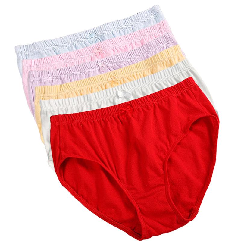 6条女士内裤中老年中腰纯棉胖MM短裤三角裤纯白色全棉妈妈裤头