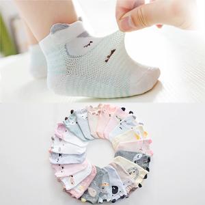 新生婴儿袜子春夏季薄款纯棉儿童网眼短袜0-6月1岁可爱超萌宝宝袜