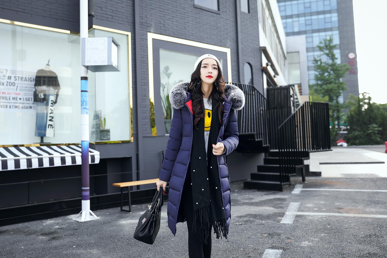 2017冬季新款女中长款韩版加厚棉衣棉袄女双面穿
