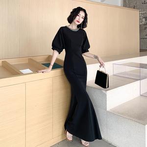 黑色晚礼服裙女2020新款宴会气质晚装优雅高贵气场女王生