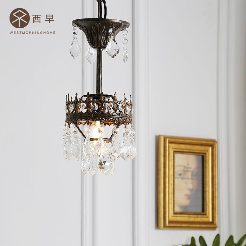 西早 日式法式复古卧室餐厅中古水晶吊灯客厅卧室吧台过道阳台灯