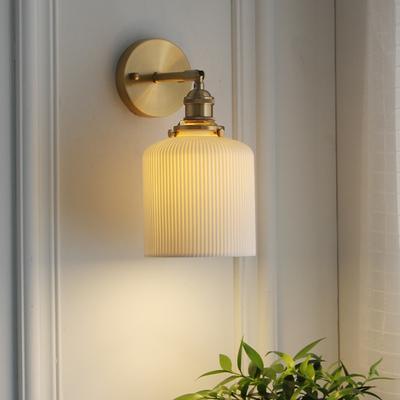 西早 新中式日式白色陶瓷壁灯 北欧简约黄铜卧室床头过道玄关壁灯