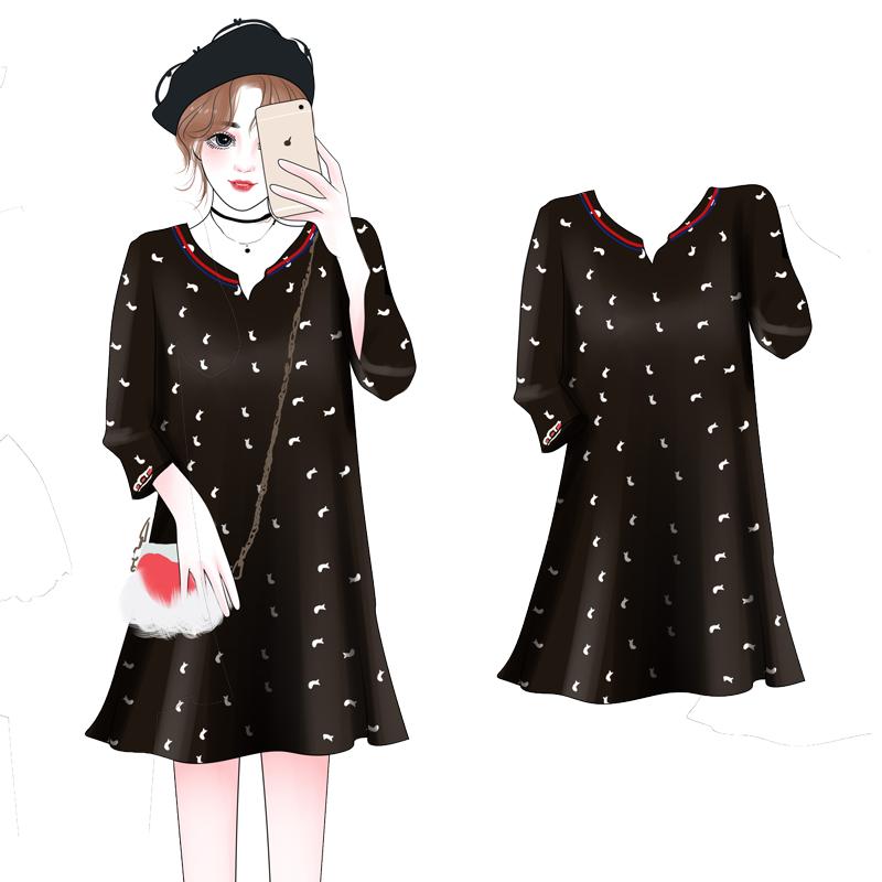 大萝莉胖mm大码女装新款春秋装韩版200斤宽松显瘦藏肉连衣裙减龄
