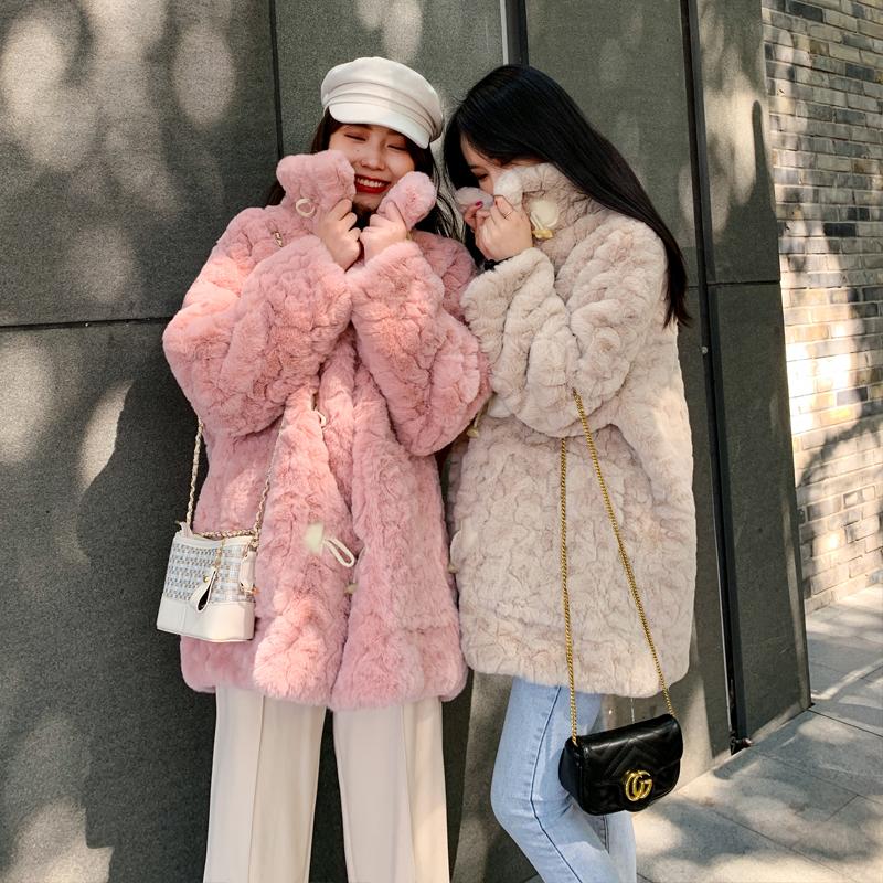 2021羊羔毛仿皮草女冬宽松毛毛外套中长款皮毛一体牛角扣毛绒大衣