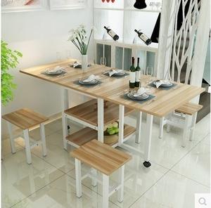 吃饭桌子折叠餐桌家用多功能6人小户型4人可伸缩餐桌8人长方形