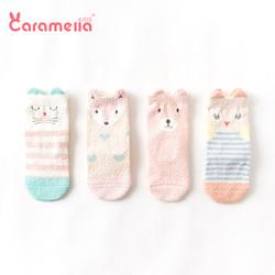 caramella婴儿袜子秋冬加厚保暖地板袜童袜宝宝袜中筒袜