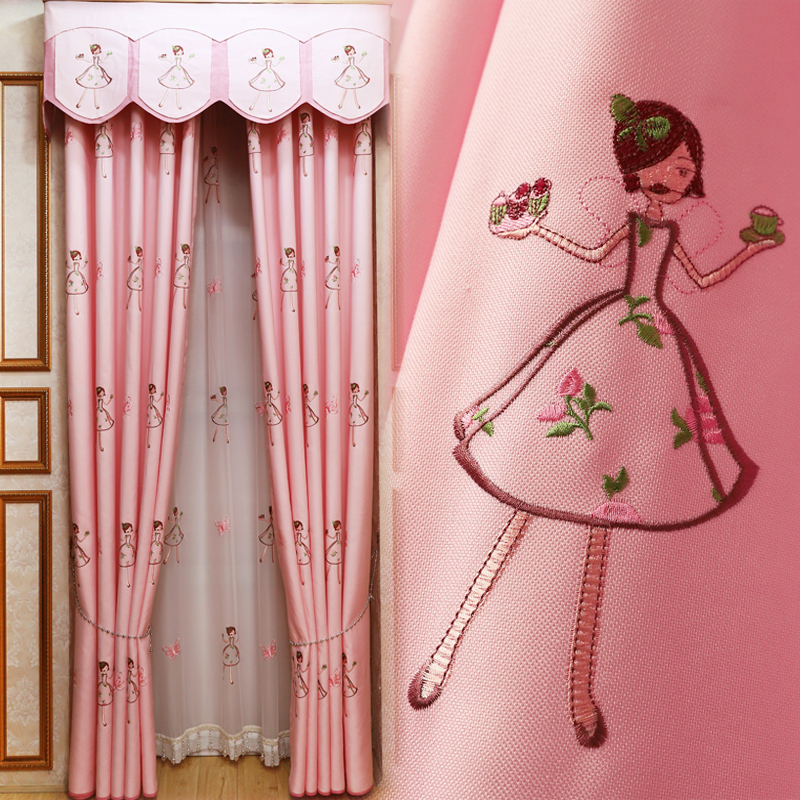 Deep processing princess style bedroom French window customized finished childrens room curtain cartoon girl curtain simple modern