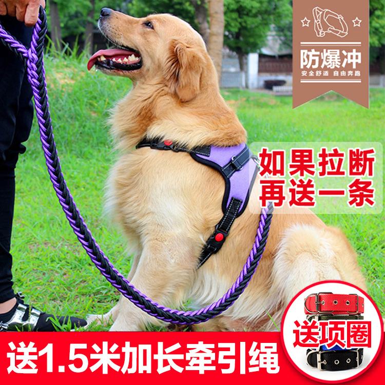 狗狗牵引绳背心式胸背带中型大型犬金毛柯基遛狗绳小型泰迪狗链子