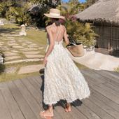 三亚沙滩裙吊带ins超火露背连衣裙超仙海边旅游拍照度假长裙女夏