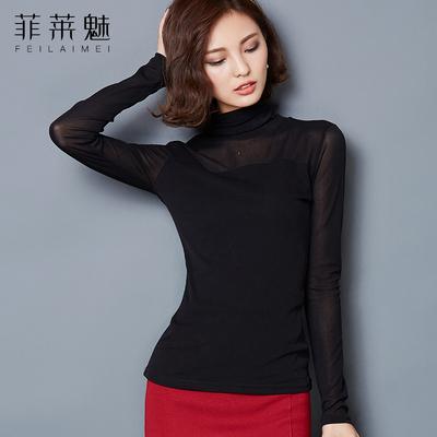 网纱黑色加绒加厚长袖紧身内搭t恤