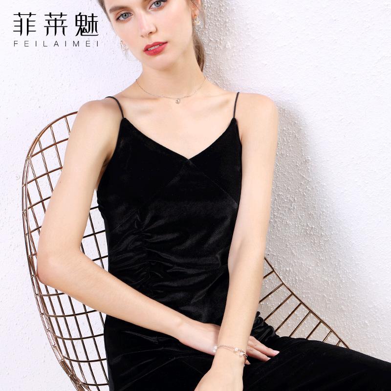 限100000张券2019秋冬新款黑色丝绒小礼服连衣裙