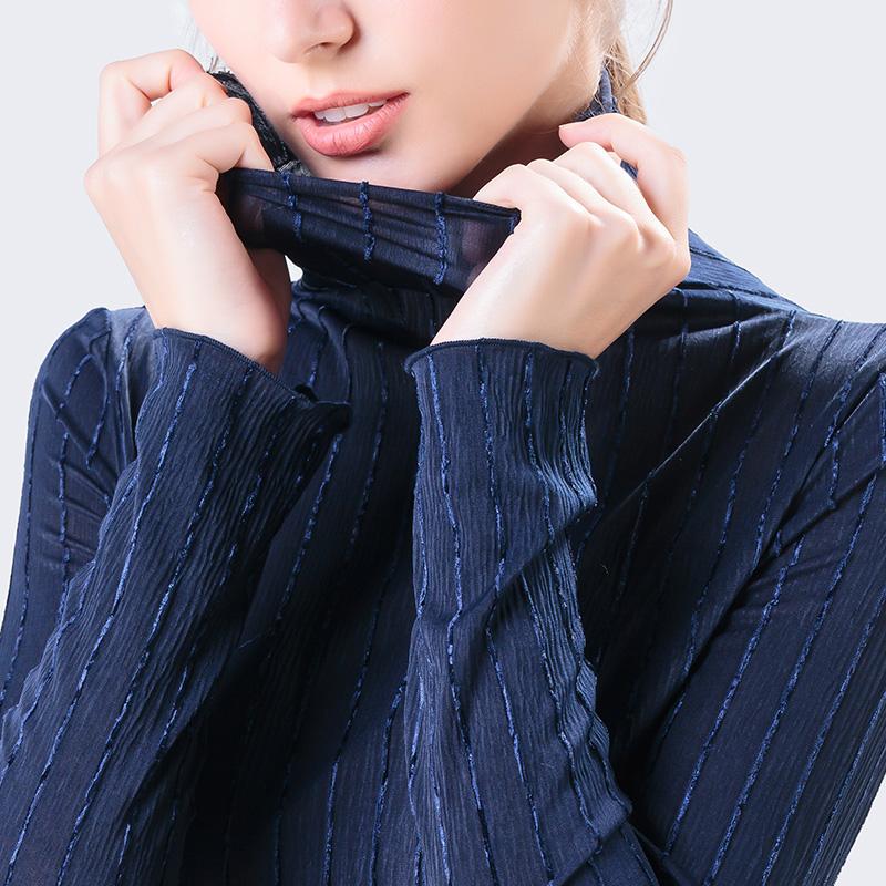 高领条纹网纱2019秋装新款洋气t恤限时秒杀