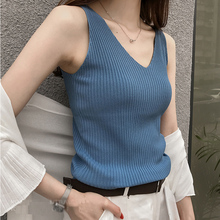 Knitted suspender waistcoat Korean spring and summer women's wear with ice silk sleeveless jacket simple temperament V-neck undercoat
