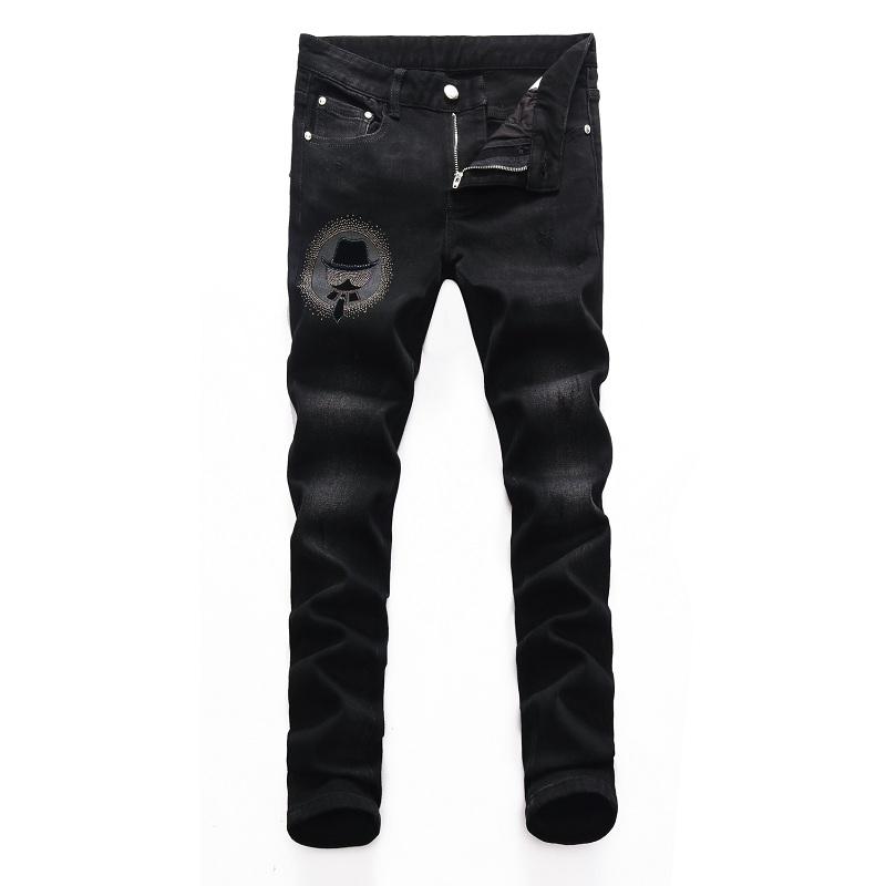 Fashion brand autumn and winter black gray high-end jeans hot drill medium low waist versatile Korean elastic straight leg casual pants