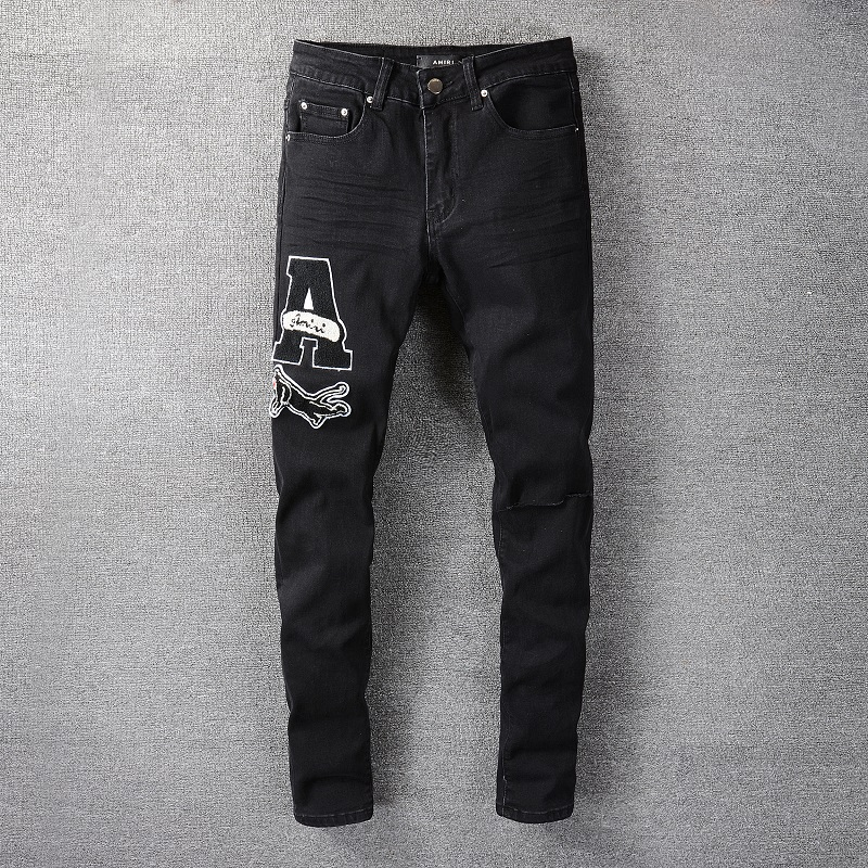 Chao brand Amiri stretch jeans mens summer thin embroidered high-end slim fit small foot leisure low waist long pants
