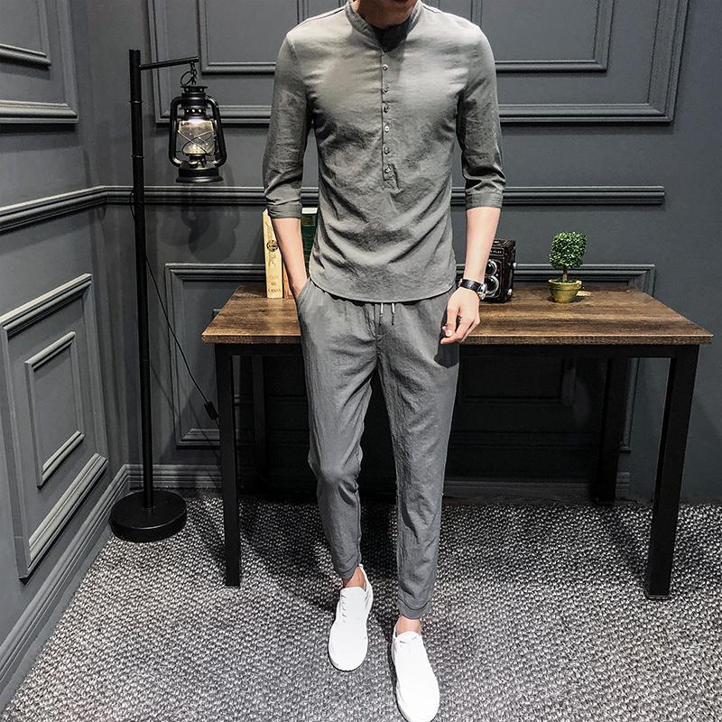 2018夏季新款帅气男休闲套装亚麻薄款社会棉麻韩版潮流男士两件套