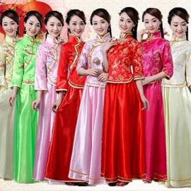 秀禾伴娘服姐妹团中式礼服民国外嫁回娘家活动合唱服网红装中国风图片