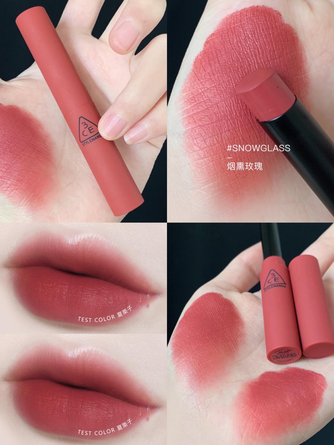 韩国3CE黑细管烟管FLUFFY RED/PLAIN/SIMPLE STAY哑光丝绒口红图片