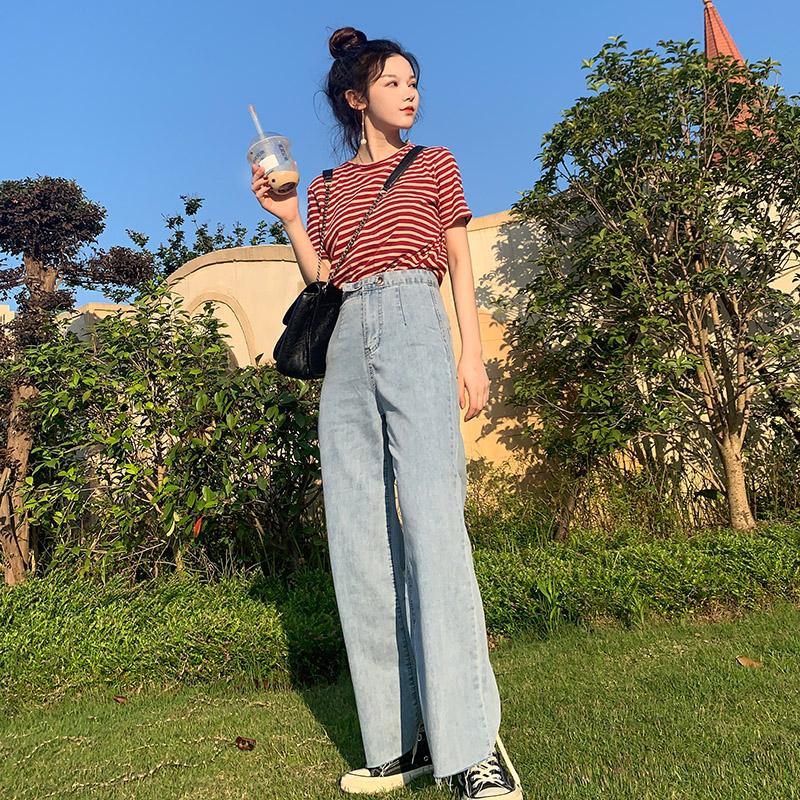 夏季薄款泫雅同款高腰牛仔裤女宽松垂感阔腿裤女2019直筒老爹裤子(用69元券)
