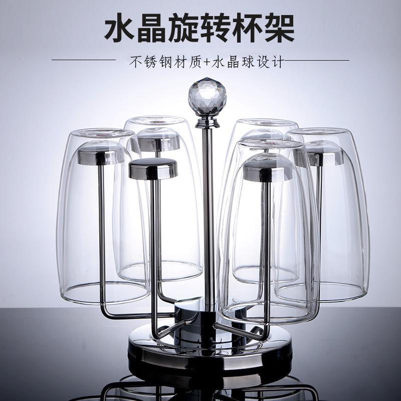 创意304不锈钢玻璃杯子架子水杯挂架家用茶杯收纳架倒扣沥水杯盘