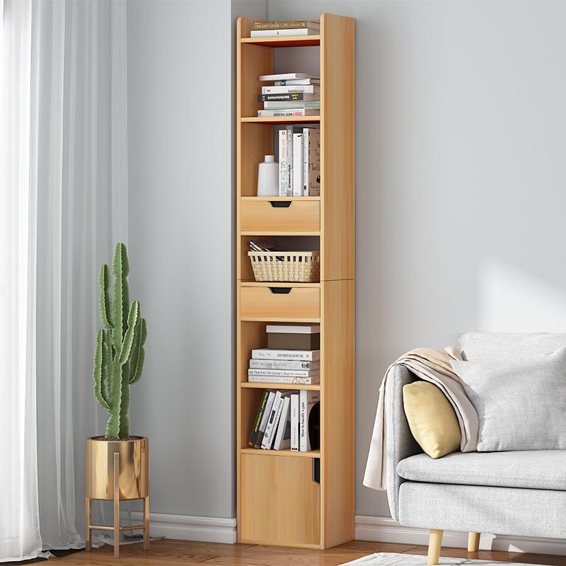 超窄书柜书架落地简约客厅小型收纳柜子家用置物柜带门夹缝储物柜
