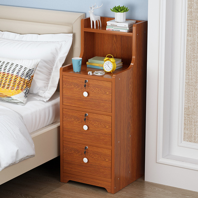 Bedside table heightened shelf simple modern three drawer narrow bedside cabinet simple storage cabinet with lock
