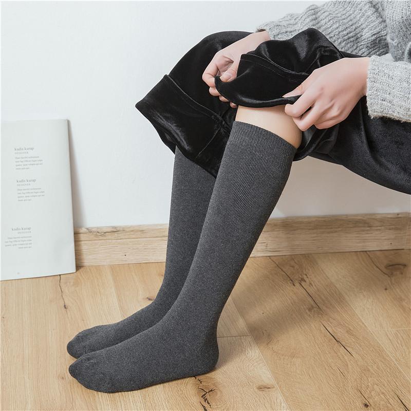 秋冬子女韩国学院风黑色毛圈中筒袜