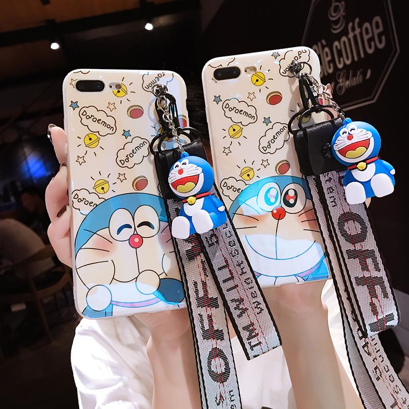 苹果8plus手机7p韩国潮牌X新款6s个性创意女款8x硅胶套6全包防摔iPhoneX软壳可爱卡通少女心网红同款带挂绳六