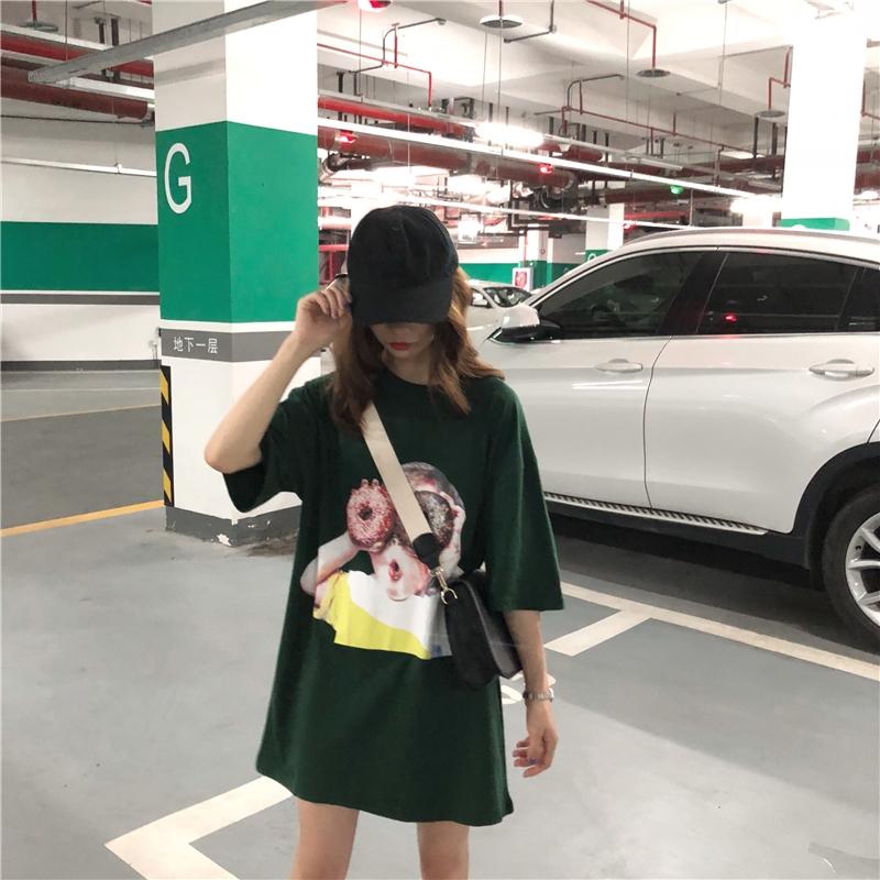 体血裙2018新款女果绿色t恤女印花权律二同款裙韩ins裙子少女复古