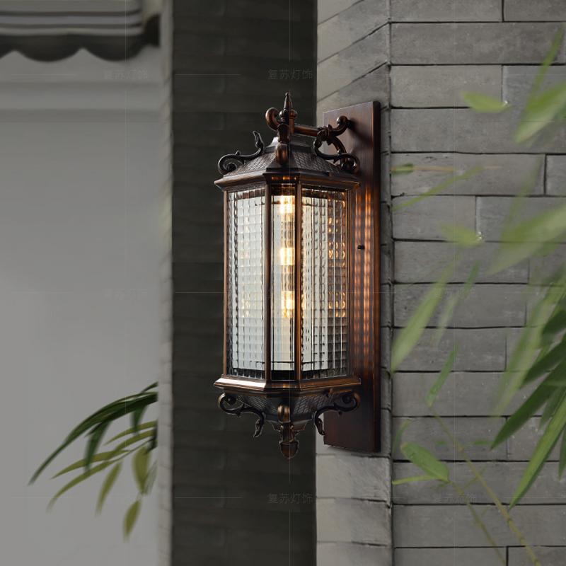 过道外围墙门柱简约别墅大门口灯具led新中式户外壁灯防水庭院灯