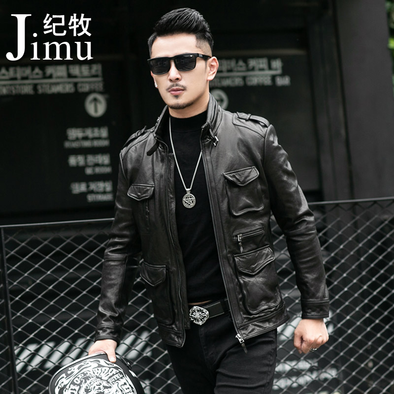 New Haining hunting suit M65 genuine leather jacket for men sheepskin locomotive leather jacket
