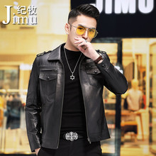 Fall 2019 New Haining Leather Garment Men's Head Calf Leather Locomotive Leather Jacket Korean Edition Slim