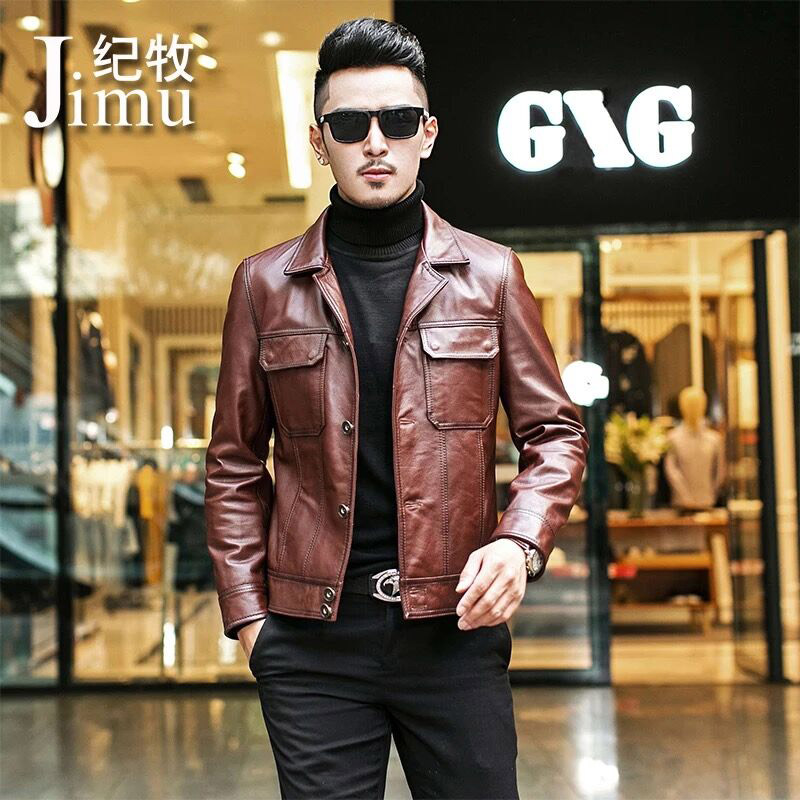 Haining leather leather men's head layer cowhide Slim Korean handsome machine car leather jacket spring and autumn thin outrun coat tide