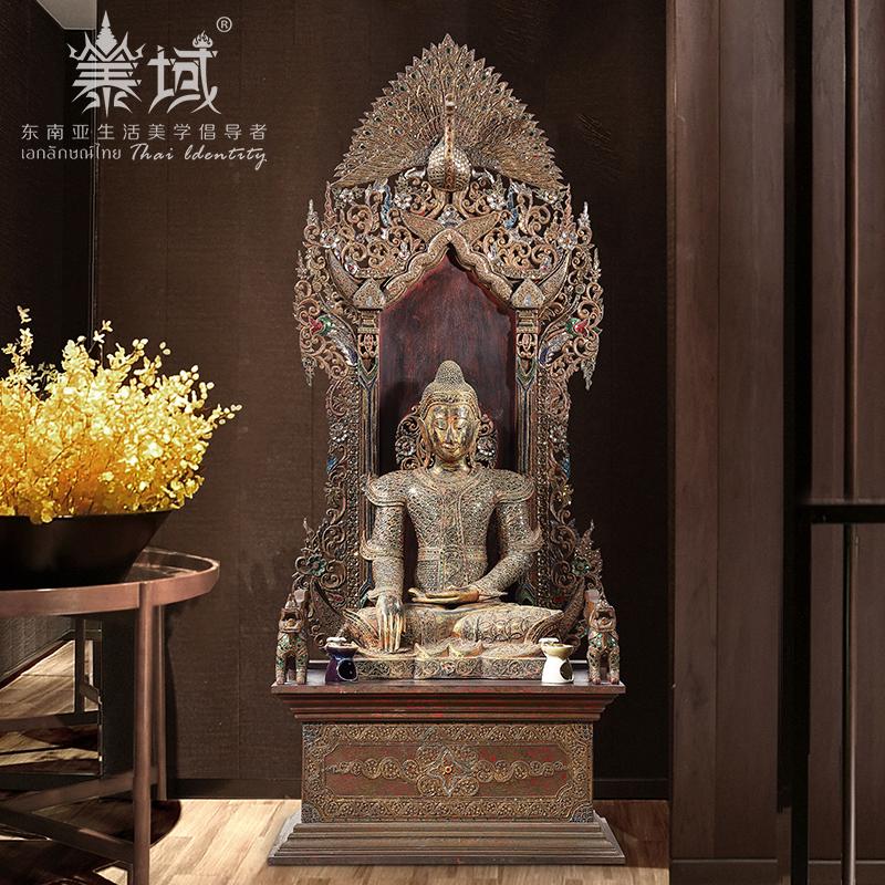 泰域泰国老柚木佛龛家用东南亚供台