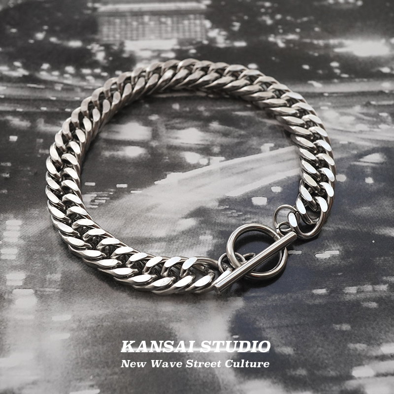 KANSAI古巴链粗款手链钛钢饰品...