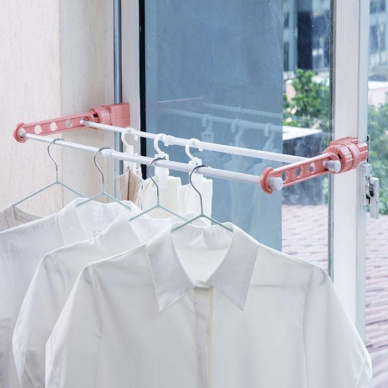 窗框时尚室内无痕收纳承重墙壁省空间晾衣神器 阳台伸缩拆卸浴室