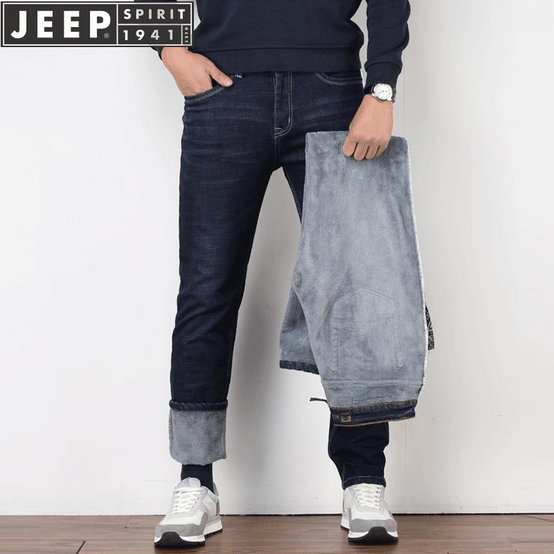 棉弹无束缚,吉普JEEP男士加厚直筒牛仔裤