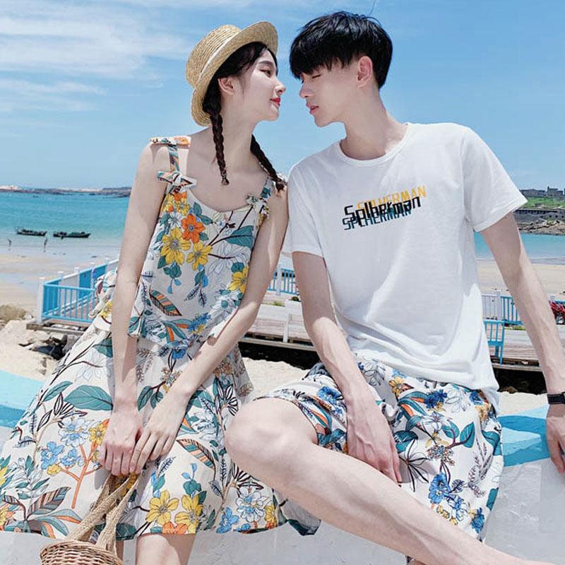 情侣装夏装海边套装沙滩度假2021春装连衣裙夏季一裙一衣短袖T恤