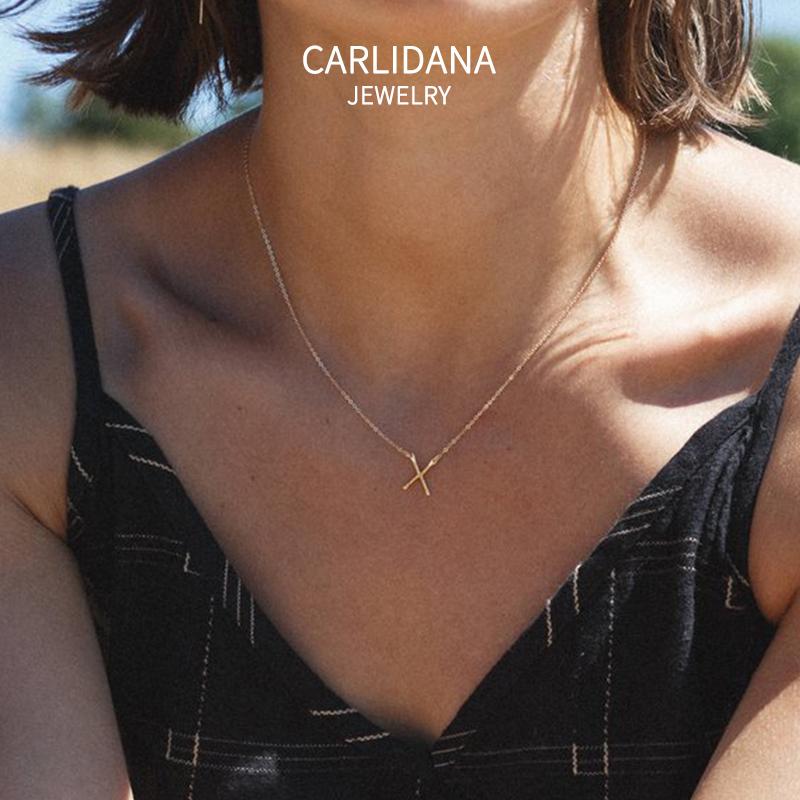 ins极简X字母锤纹项链欧美IPG18K镀金钛钢小众时尚设计闺蜜锁骨链