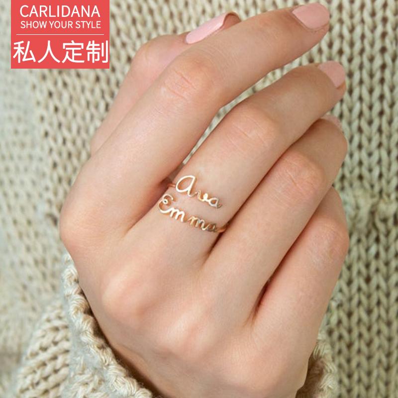 私人定制 双英文字母开口戒指女小众设计IPG可调节情侣闺蜜对戒