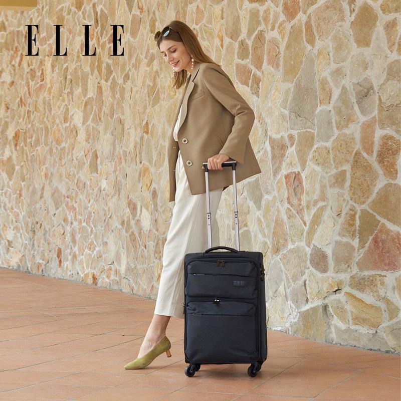 ELLE登机密码箱旅行箱软大箱子拉杆箱女20/24寸布箱商务行李箱